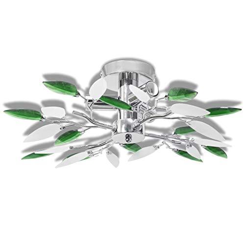 vidaXL Deckenleuchte Weiß Grün Deckenlampe Kronleuchter Lüster Leuchte Licht