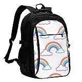 fepeng Mochila de arco iris con mochila USB para ordenador portátil impermeable mochila de viaje para la escuela, Negro, Talla única