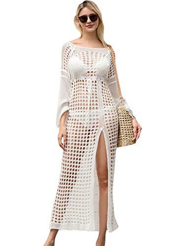 Verdusa Women's Cut Out Split Fishnet Swimwear Beach Cover Up Long Dress White-2 M