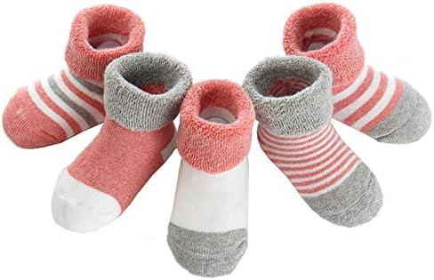 Z-Chen Lot de 5 Paire Chaussettes Coton Hiver B/éb/é Fille Gar/çon