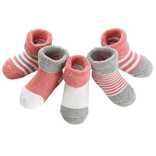 Z-Chen Pack de 5 Pares de Calcetines Bebé Niño Niña Algodón, Rojo, 12-24 Meses