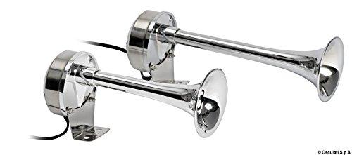 Osculati Membran-Bootshorn 210 + 268 mm lang aus hochglanzpoliertem Edelstahl - incl. Knotentafel