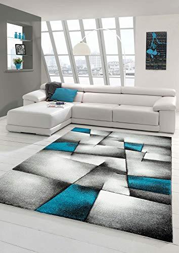 Designer Teppich Moderner Teppich Wohnzimmer Teppich Kurzflor Teppich mit Konturenschnitt Karo Muster Türkis Grau Weiß Schwarz Größe 200 x 290 cm