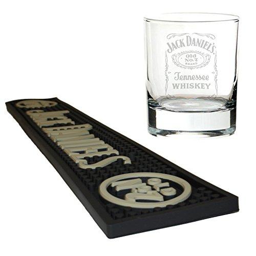 Jack Daniels la cerveza alfombrilla/camino de barra con mezclador de cristal