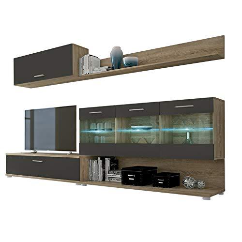HomeSouth - Mueble de Comedor, modulo Salon Vitrina con Led, Modelo Zafiro, Acabado Color Roble y Grafito, Medidas: 250 cm (Ancho) x 39,6 cm (Fondo)