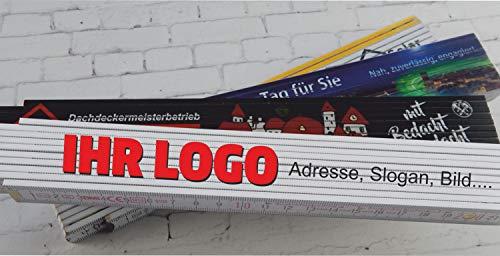10, 20, 30 oder 50 Stk. Zollstock mit Ihrem Wunsch Druck Fotodruck Logo +gratis Cutter-Messer(10)