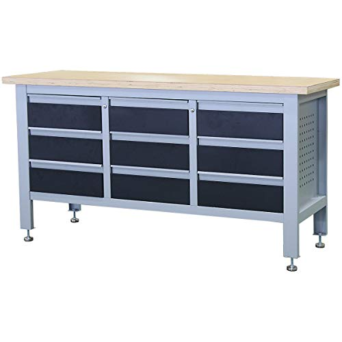 newpo Werkbank | HxBxT 865 x 600 x 1690 mm | 9 Schubladen | Arbeitstisch Werktisch Werkzeugtisch