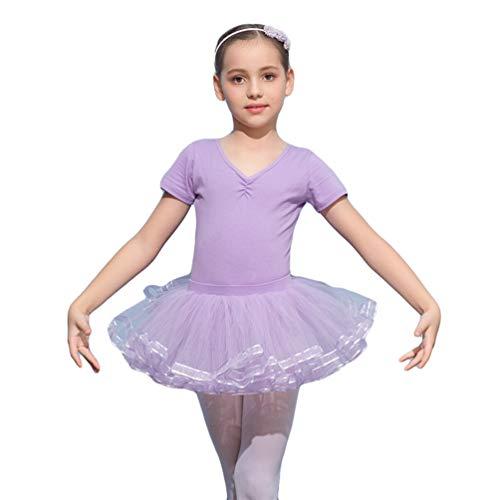 Kaiyei Niñas Vestido de Danza de Algodón Elegante con Hebilla Oculta Ropa de Deporte Gimnasia con Falda Corta de Encaje Clásico Bonito Tutú de Ballet Confortable Morado 2XL