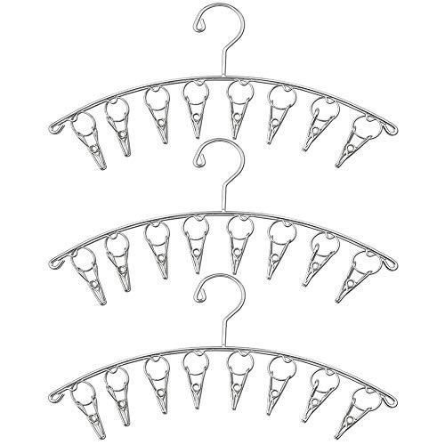 MDCEO 3pcs Colgador de Ropa de Acero Inoxidable, Percha, a Prueba de Viento Tendedero con 8 Pinzas para Tender La Colada, Ropa, Calcetines, Ropa Interior (Diseño Interno a Prueba de Viento)