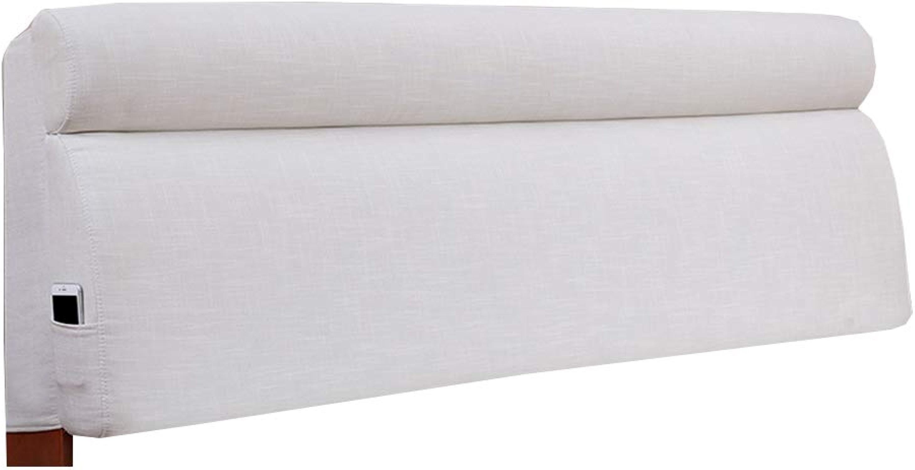 FLHSLY Coussin de Chevet, Oreiller de Lecture Lin Tête de lit étui Souple (avec Appui-tête) Coussin de Soucravaten Lombaire Grand Dossier,blanc,150  60  10cm