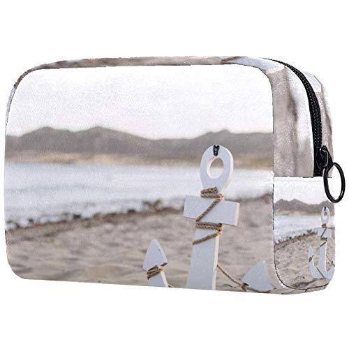Bolsa de cosméticos Bolsas de Maquillaje para Mujer, pequeña Bolsa de Maquillaje Bolsas de Viaje para artículos de tocador - Playa Ancha en la Arena Junto al mar