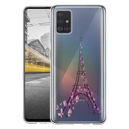 KX-Mobile Hülle für Samsung A51 Handyhülle Motiv 2383 Paris Eifelturm Frankreich Premium Silikonhülle durchsichtig mit Bild SchutzHülle Softcase HandyCover Handyhülle für Samsung Galaxy A51 Hülle