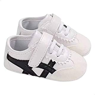 Mix and Max Side-Stripe Velcro-Strap Low-Top Lace-Up Shoes for Girls - White and Black, 0-6 Months