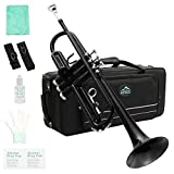 EastRock Trumpet Brass Standard Bb Trumpet Set for Beginner, Student with Hard Case, Gloves, 7C Mouthpiece, Trumpet Cleaning Kit(Black)