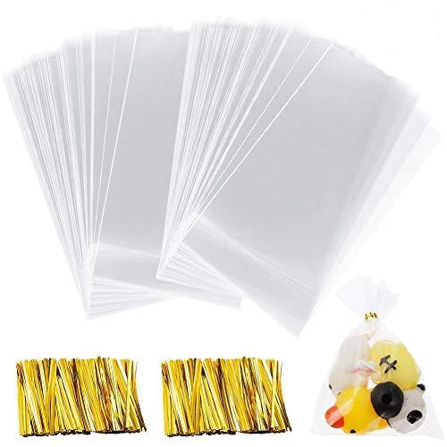 200PCS Bolsa Celofán Transparentes, BESTZY Bolsas de Plástico de Caramelos para Galletas, Panadería, Dulces, Regalos