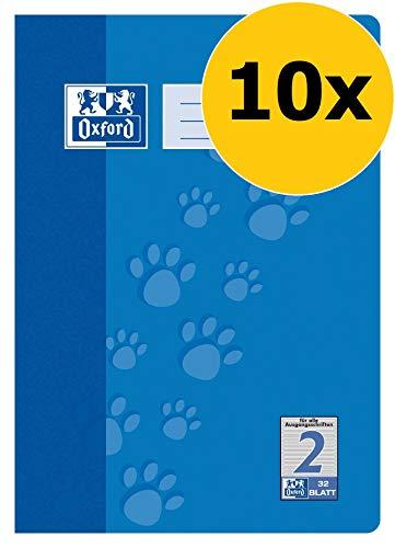 Oxford Schule Schulheft A4, liniert, Lineatur 2, 32 Blatt, blau, 10er Pack