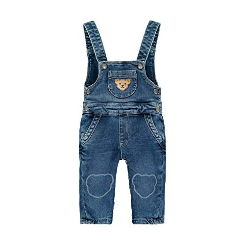 Steiff Jungen Jeanslatzhose Jeans, Blau (Blue Indigo 6050), 74 (Herstellergröße:074)