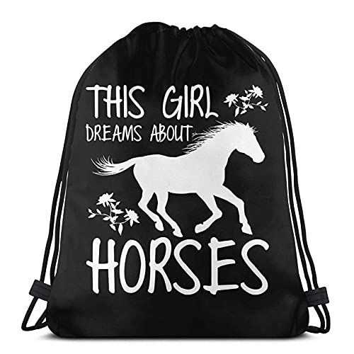 Lmtt Bolsas de cuerdas para el gimnasio Esta chica sueña con caballos Mochilas Casual Unisex Escuela Bolsa de Cuerda Bolsas de Gimnasia 36*42cm