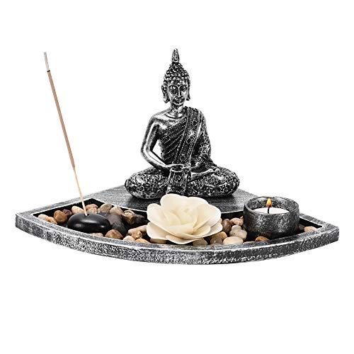 IZSUZEE Buddha Candelabro, Jardín Zen Tablero Buddha 10.5x13.5cm con Portavelas, Quemador de...