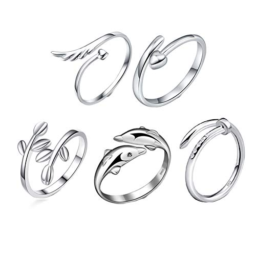 Richaa 5Pcs Silver Open Rings Set Adjustable Finger Ring Joint Ring Women Ring Jewellery Accessories for Women Girls