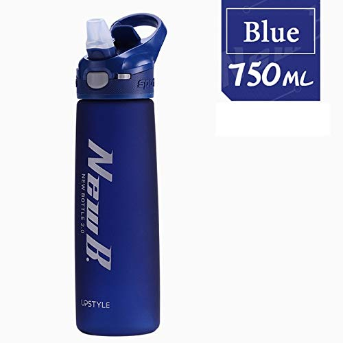 Berrd 750 / 600ML whey Protein Powder Sports Shaker Bottle, Water Bottle with Drinking Straw Outdoor Travel Portable Beverage Plastic - Blue-750ml
