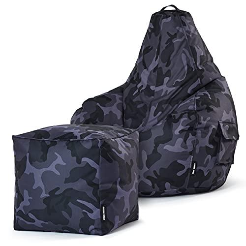 Green Bean Gaming © 2er Sitszack Set - Cozy Sitzsack mit 2 Seitentaschen + Cube Hocker - robust, waschbar, schmutzabweisend, wasserfest - für Kinder & Erwachsene - Camouflage Schwarz