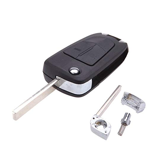 KaTur - Mando a distancia plegable con dos botones para la llave de un coche Opel, llave sin cortar, sin chip