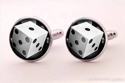 Gemelli a forma di dadi, da gioco, speciali gemelli fatti a mano, in vetro rotondo argento, gemelli per camicia, gemelli da uomo, stile speciale,