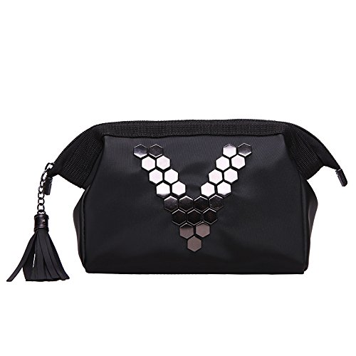 MZP V qualité sac à main rivets coréenne formule sac lavage imperméable Trousse de maquillage en vrac Sacs , black