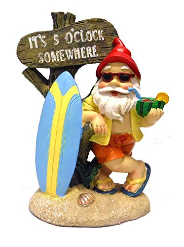 mayinc 5:00 Somewhere Tropical Party Gnome Garden Statue