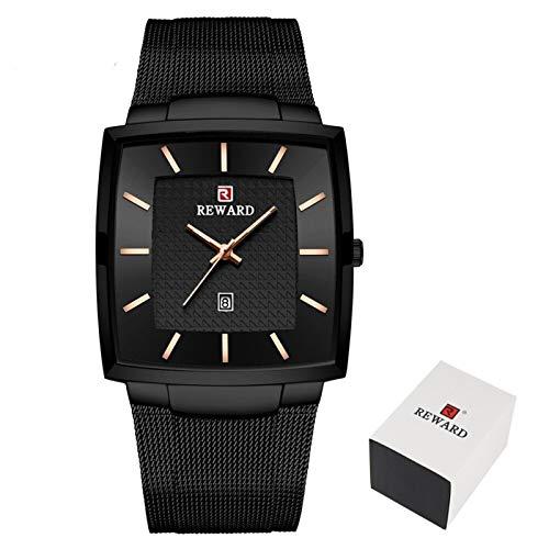 JCCOZ-URG Reloj de los Hombres de Acero Inoxidable Relojes de Cuarzo Azul de Manera Masculino Superior de la Marca de Lujo Delgado de Malla Impermeable Reloj del Negocio URG