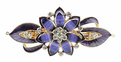 Ladies esmalte & Diamante Noche ocasión diseño de pasador de cabello Clip Pointy flores olas