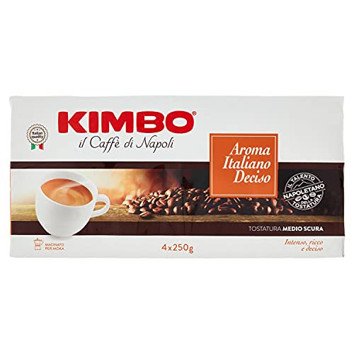 Kimbo Aroma Italiano Deciso Caffè Macinato, 4 X 250 Gr (1000 g)