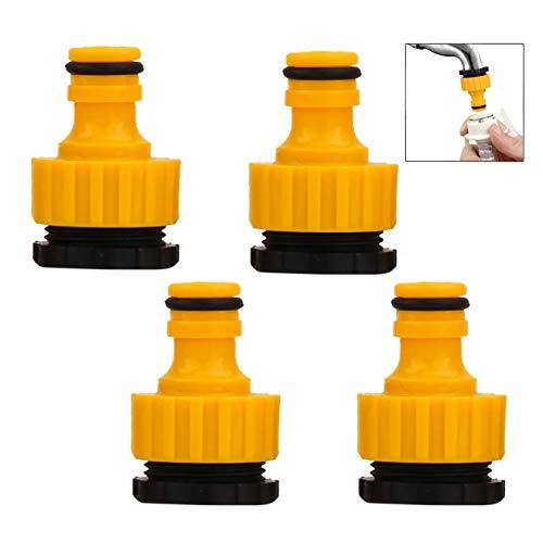 iwobi 4 Stück Schlauchanschluss Hahnverbinder, Kunststoff Gartenschlauch Gewindehahnanschluss, 1/2 Zoll und 3/4 Zoll Größe, 2 in 1