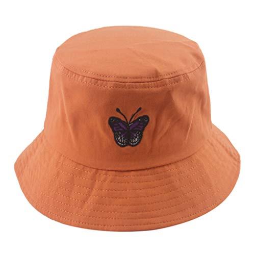 fuwahahah Fischerhut mit Schmetterlingsstickerei, Unisex, kurze Krempe, Sonnenschutz, Fischermütze