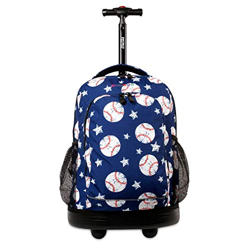 J World New York Kids' Sunny Rolling Backpack Adults, Base Ball, One Size