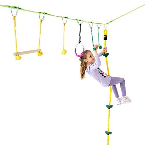 Namee Slackline Klettergerüst Set, 12M Kinder Slackline Anfänger Slackline Kinder Schwingen Hindernisse Kurs Set mit Ratschenschutz für Anfänger, Kinder und Familien