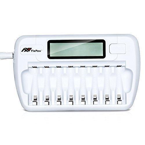 FlePow 8 Bay/ Slot aa AAA NI-MH Ni-Cd caricabatterie rapido LCD caricabatteria intelligente per batterie ricaricabili (batterie non incluse)