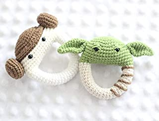 Handmade Star Wars Baby Yoda and Princess Leia Rattle Cotton Yarn toy