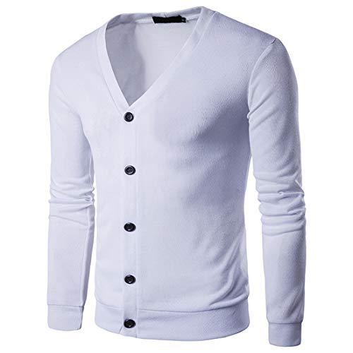 Cardigan Herren Cardigan Herren Sport Casual Fashion Button Langarm Frühling Und Herbst Licht Urlaub Party Arbeit Gentleman Neue Herren Tops White_ XXL