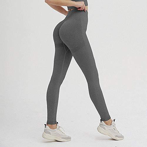 B/H Pantacourt de Sport Femme Leggings,Pantalon de Yoga de Course à Pied serré Taille Haute, Collants sans Couture d'énergie-Black_S