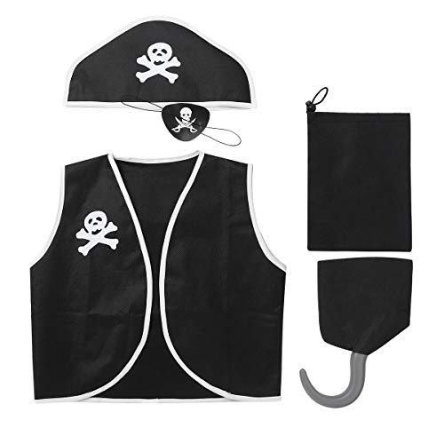 iiniim 5Pcs Enfant Déguisement Pirate Garçon Fille Cosplay Costume Corsaire Halloween Carnaval Gilet Chapeau Cache-Oeil Crochet de Pirate Sac de Rangement Ensemble Noir Taille Unique