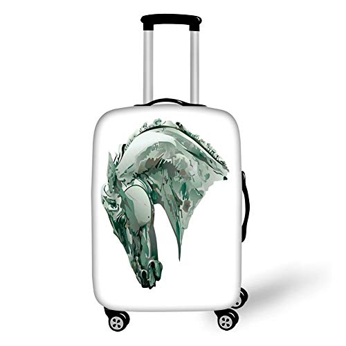 Travel Luggage Cover Suitcase Protector,Sculptures Decor,Green Stain Horse Head with Mane Image Equestrian Camouflage Color Abstract Artwork,Grey,for Travel XL