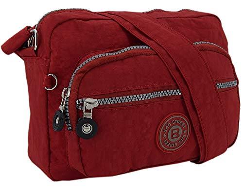 Kleine leichte Damen Schultertasche Umhängetasche aus hochwertigem wasserabwesendem Nylon (Rot)