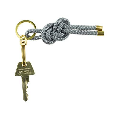 KNOK Key Knot - Keyring Schlüsselanhänger schlüsselband Schlüsselhalter mit Kordel in Grau