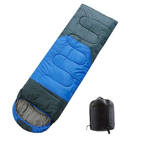 TAHUAON Saco de dormir de camping sobre para mochilero comodidad para adultos clima cálido con saco de compresión (azul gris 1.8kg)