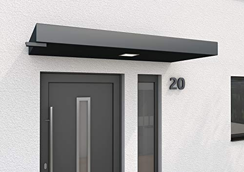 Gutta Rechteckvordach BS Plus mit integriertem Entwässerungssystem (BS Plus 200 mit Wasserspeier links, Standardmaß 200 x 90 x 14,5 cm)