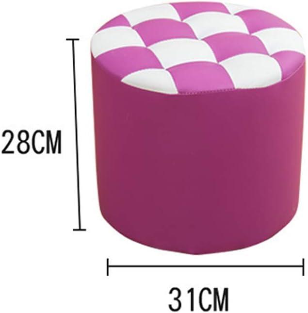 Tabouret bas cylindrique en cuir PU en bois massif, antidérapant, multifonction, coloré, facile à changer, tabouret de hauteur, 28/35 cm violet-B Rose Rouge.