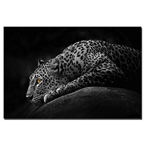 QAZEDC Dekorative Malerei Schwarz-Weiß-Bild von Leopard HD nordischen Stil Wandkunst Poster Leinwand Gemälde für Wohnzimmer Dekoration 60x80cm