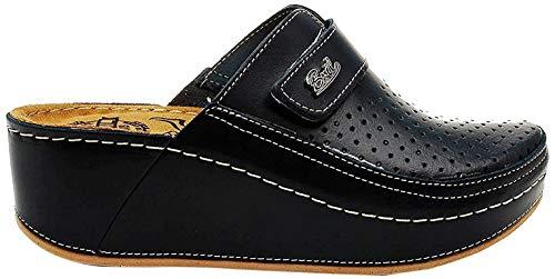 Dr Punto Rosso BRIL D130 Zuecos Zapatos Zapatillas de Cuero para Mujer, Negro, EU 37